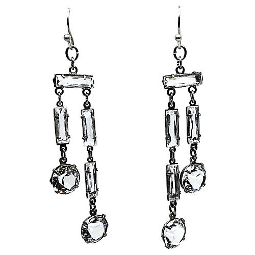 1920s Sterling Silver & Crystal Earrings