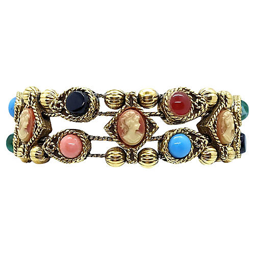 Jeweled Cameo Slide Bracelet