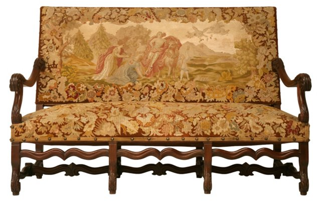 19th-C.  French Hand-Carved Settee