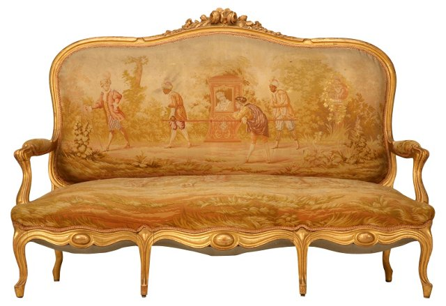 French Louis XV-Style Aubusson Settee