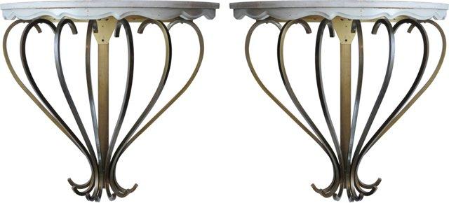 Marble & Brass Demilune Shelves, Pair
