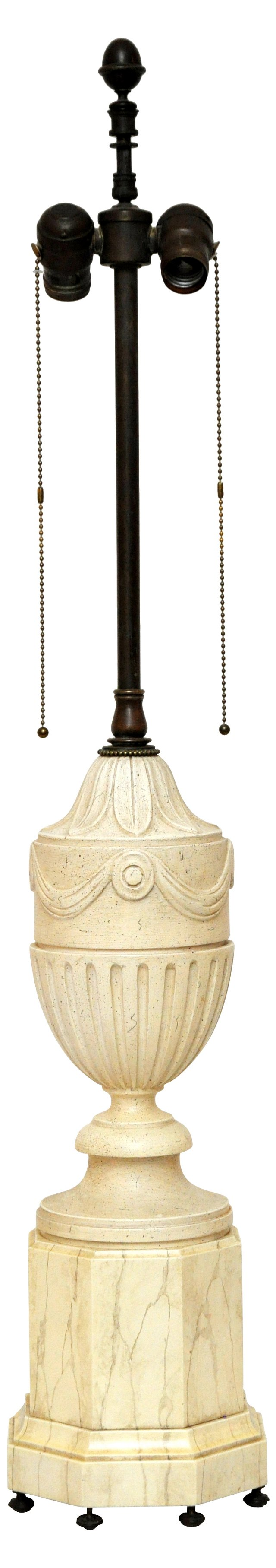 Carved Wood Faux Marble Lamp
