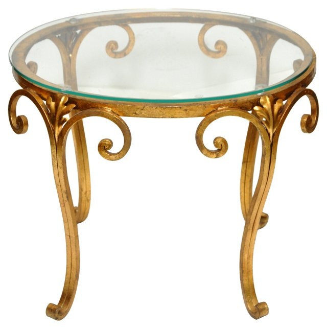 Scrolled Gilt-Metal Occasional Table