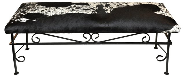 Iron & Cowhide Bench