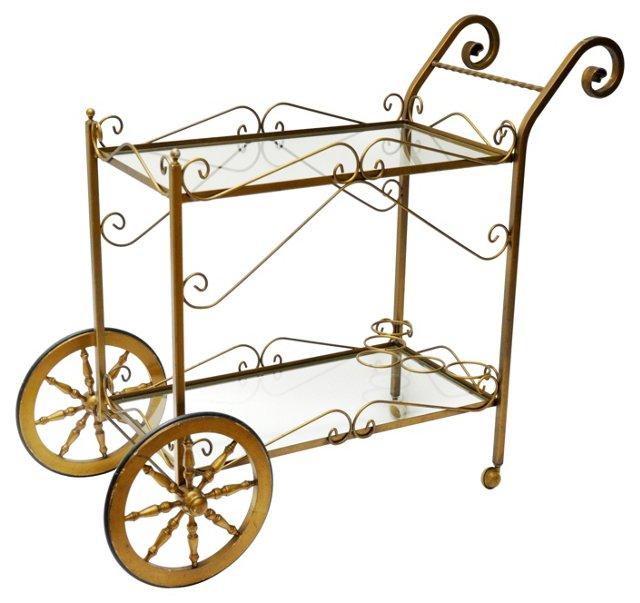 Brass Scrolled Bar Cart
