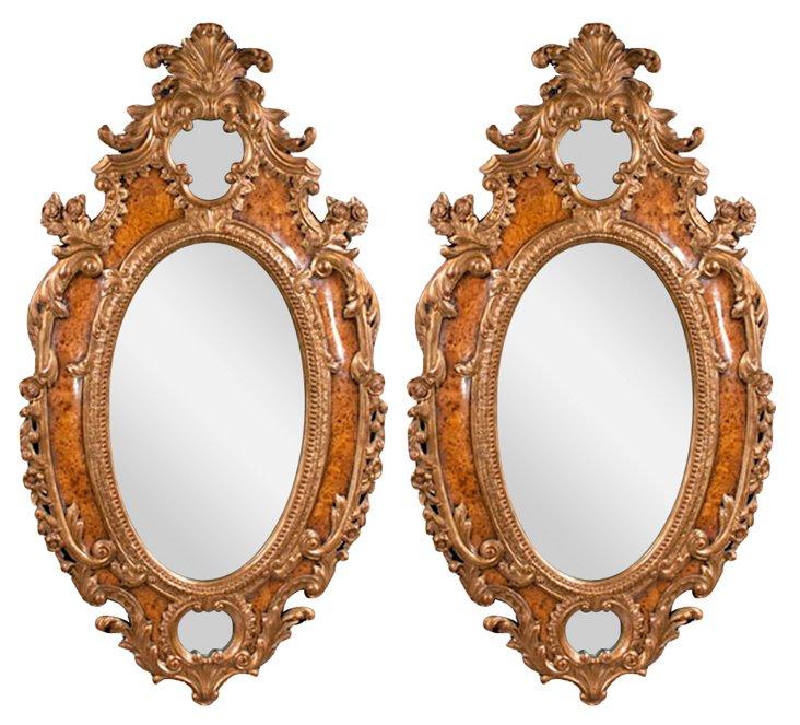 Italian Giltwood & Elm Mirrors, Pair