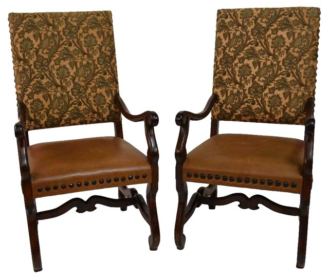English Charles II-Style Armchairs, Pair