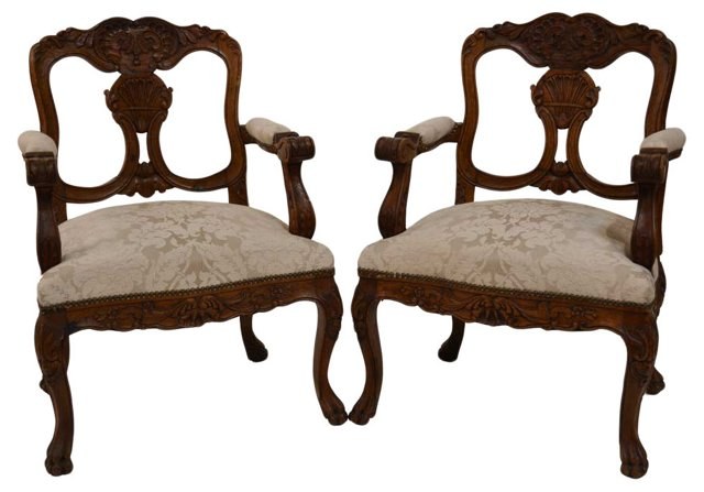 19th-C. French Armchairs, Pair