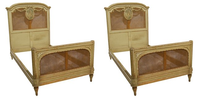 Louis XVI-Style Beds, Twin-Size, Pair