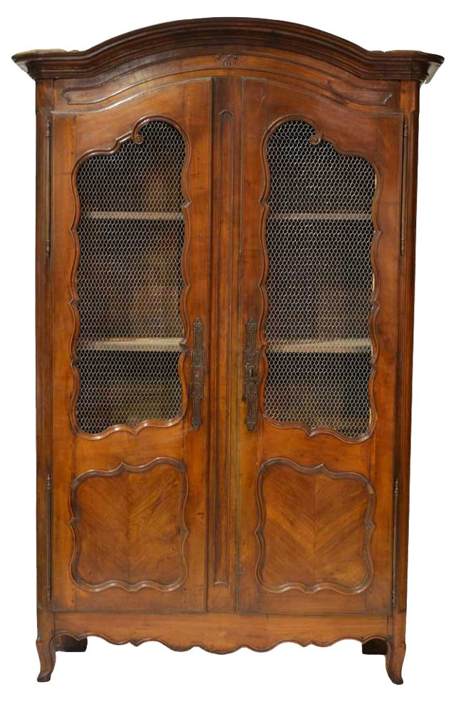 19th-C.  French Wire Paneled Armoire