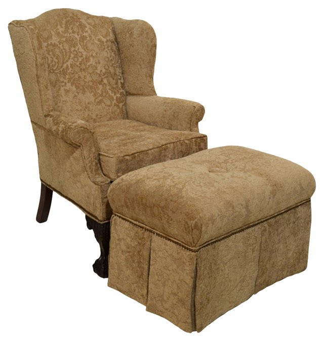Chippendale-Style Wingback &  Ottoman