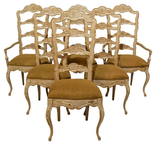 French Country  Dining Chairs, S/6