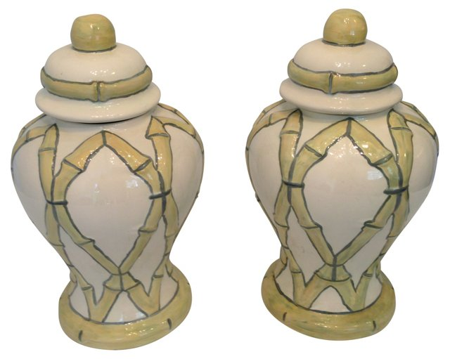 Bamboo-Style Ginger Jars, Pair