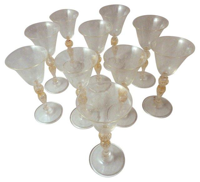 Venetian Wine Glasses, S/10