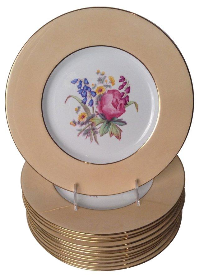 Spode Floral Dinner Plates, Set of 12