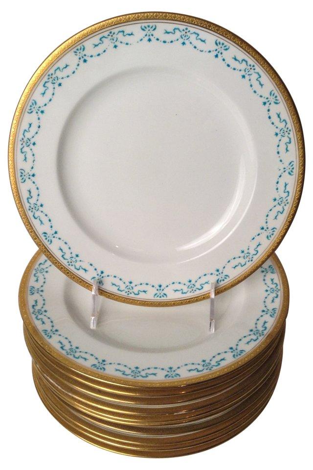 English Dessert Plates, Set of 10