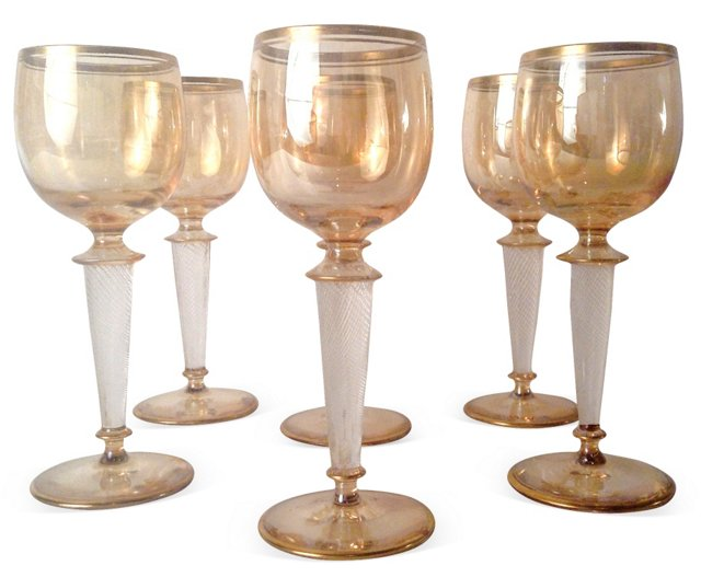 Gold Luster Wine Glasses, S/6