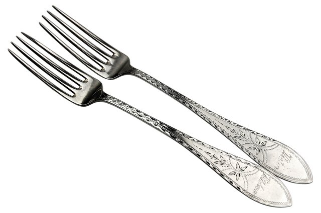 1908 Danish Sterling Serving Forks, Pair