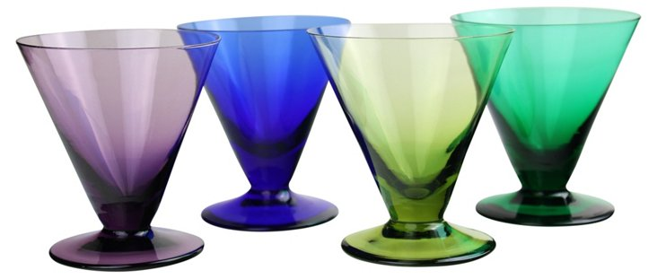 Jewel-Tone Cocktail Glasses, S/4