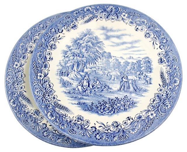 English Dinner Plates, S/5