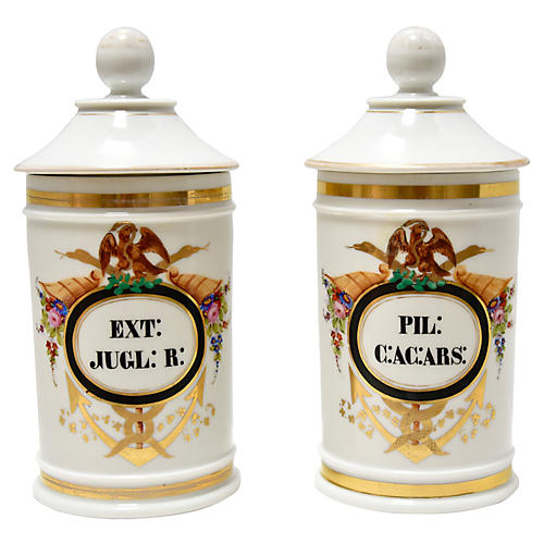 Antique French Apothecary Jars, Pair