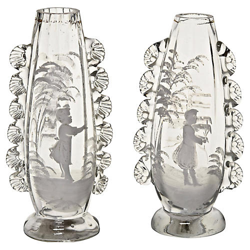 19th-C. Handblown Painted Vases, Pair