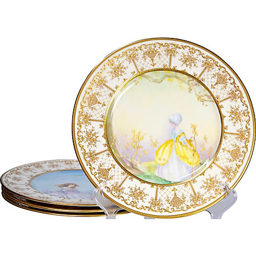 Painted Royal Doulton Plates, S/4