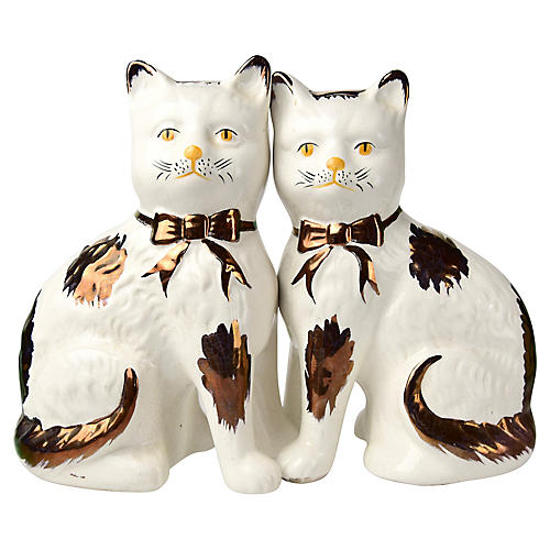 19th-C. Staffordshire Cats, S/2