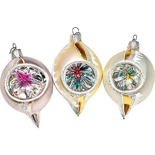Teardrop Glass Ornaments, S/3
