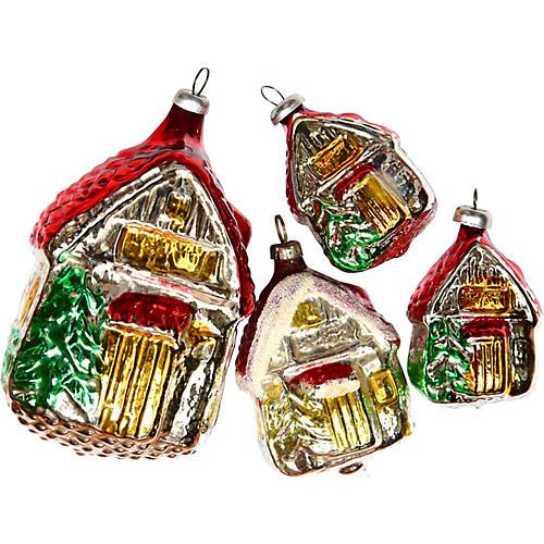 Log Cabin Ornaments, S/4