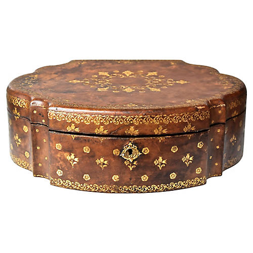 19th-C. Large Tooled Leather Box