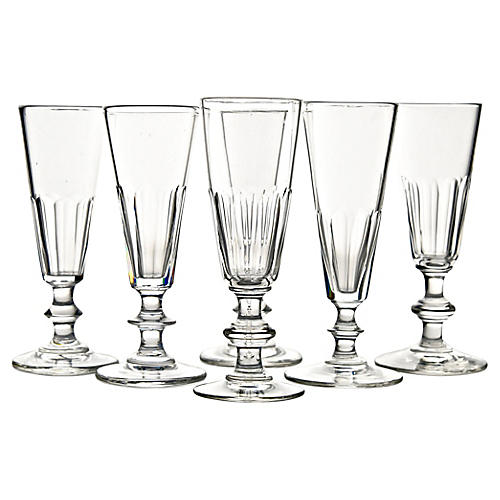 19th-C. French Crystal Flutes, S/6
