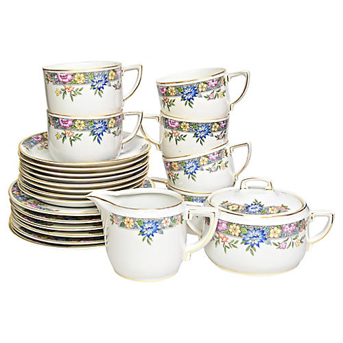 1930s Chinoiserie Dessert Set, Svc for 6
