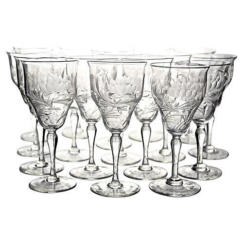 Art Nouveau Wine Glasses, S/18