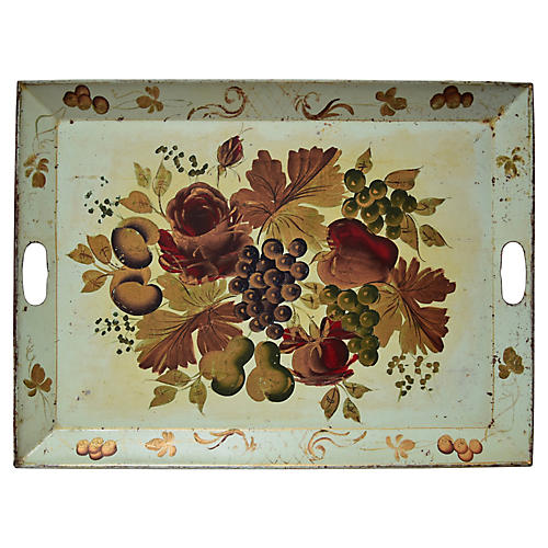 Grreen Painted Tole Tray