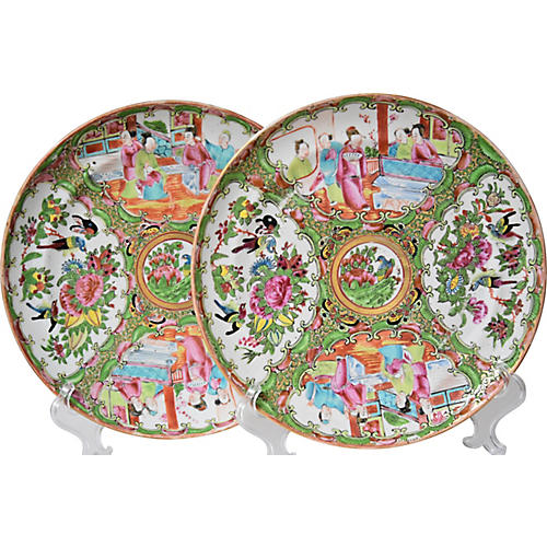 19th-C. Canton Plates, Pair