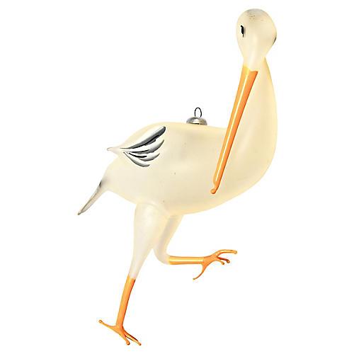 Italian Glass Stork Ornament