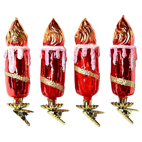 Large Candle Clip-On Ornaments, S/4