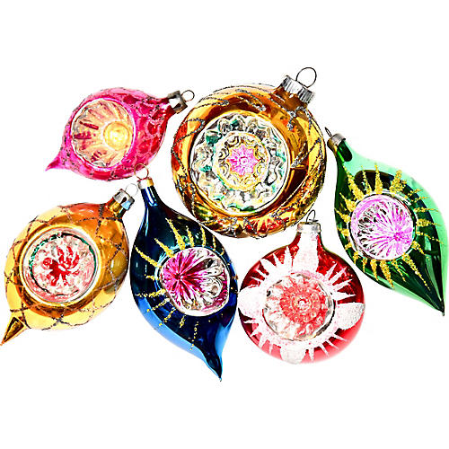 Dimpled European Glass Ornaments, S/6