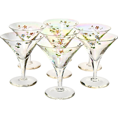 Iridescent Floral Coupes, S/7