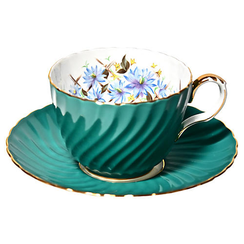 Aynsley Teal Cup & Saucer