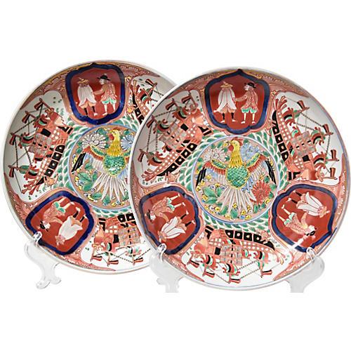 Antique Imari Plates, Pair