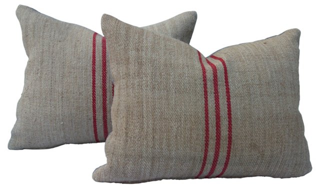 Pillows w/ Red    Stripes, Pair
