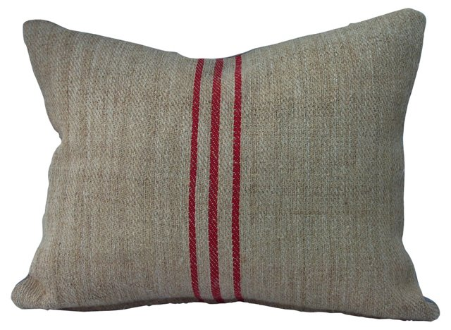 Grain Sack Pillow w/ Red Stripes