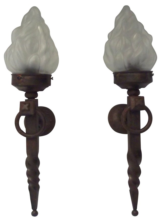 30s French Flame Sconces, Pair