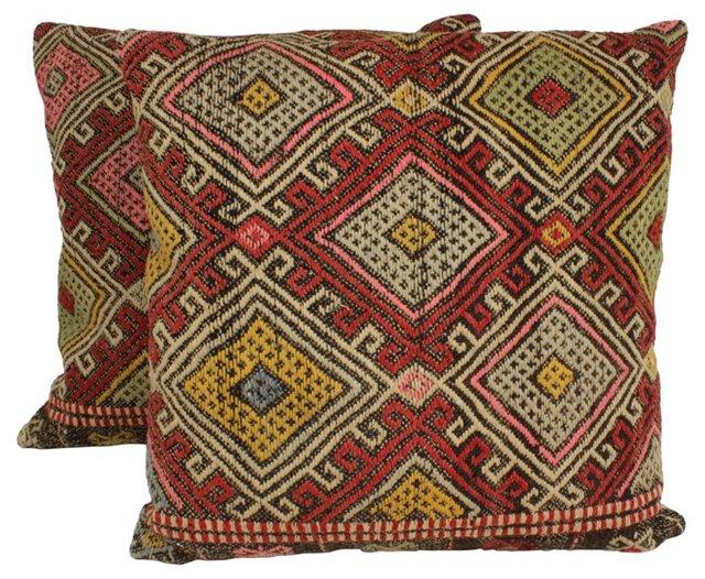 Turkish    Kilim Floor Pillows, Pair