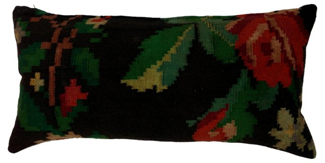 Turkish  Kilim  Pillow w/ Roses