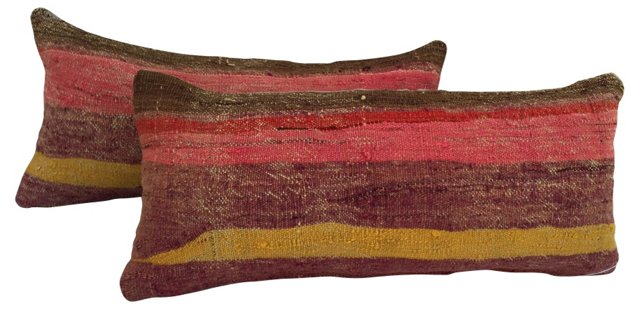 Striped Camel Sack Lumbar Pillows, Pair