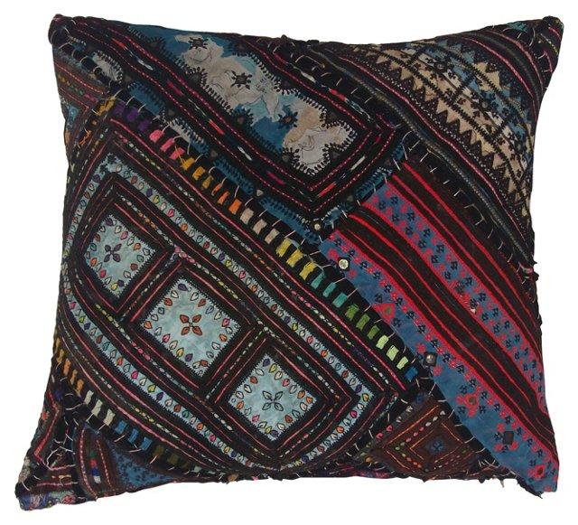 Colorful Blue Quilt Pillow