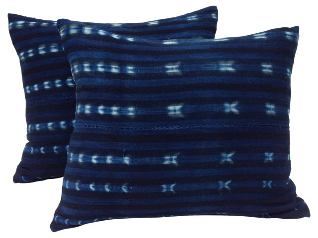 African Indigo Stripe  Pillows, Pair